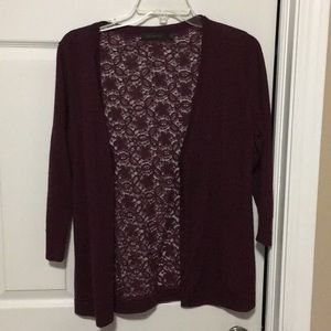 The Limited maroon lace sweater 3/4sleeve cardigan